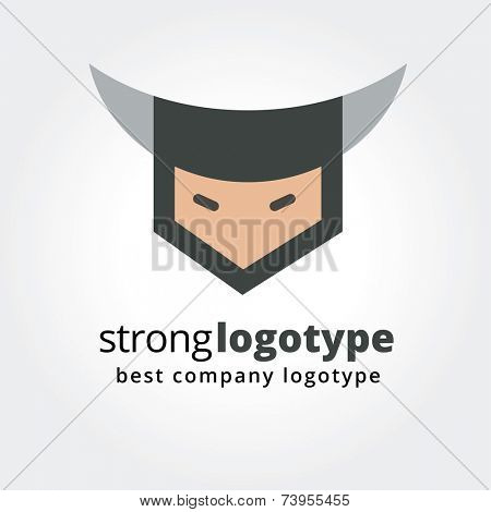 Abstract viking face logo icon concept isolated on white background for business design. Key ideas is business, team, command, security, corporate, design. Concept for corporate identity and branding