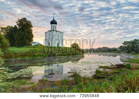Church Of Intercession Of Holy Virgin On The Nerl River Early In Morning. Russia