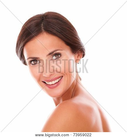 Sexy And Beautiful Woman Smiling At Camera