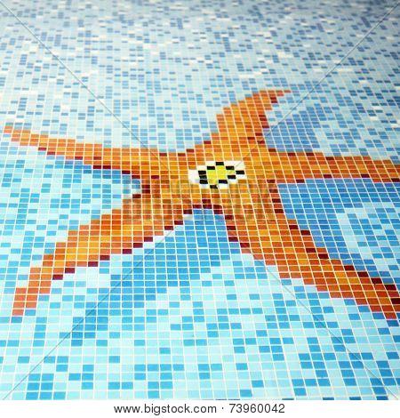 Swimming Pool Tiled Starfish Design.