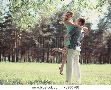 Beautiful Happy Couple In Love, Spring Sunny Day, Love, Relationships - Concept