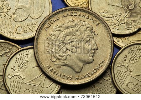 Coins of Greece. Alexander the Great depicted in the old Greek 100 drachma coin.