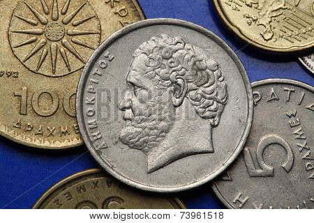 Coins of Greece. Greek philosopher Democritus depicted in the old Greek 10 drachma coin.
