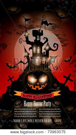 Halloween Party Flyer with creepy colorful elements with a black portion of background for your text.