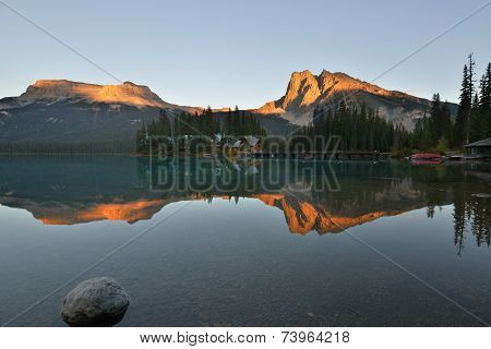 Emerald Lake Sunset In Yoho National Park