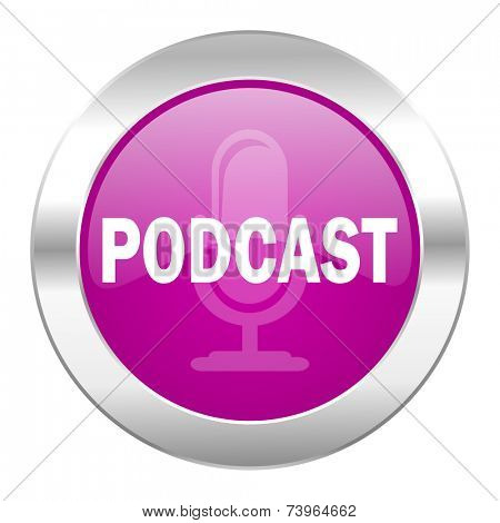 podcast violet circle chrome web icon isolated