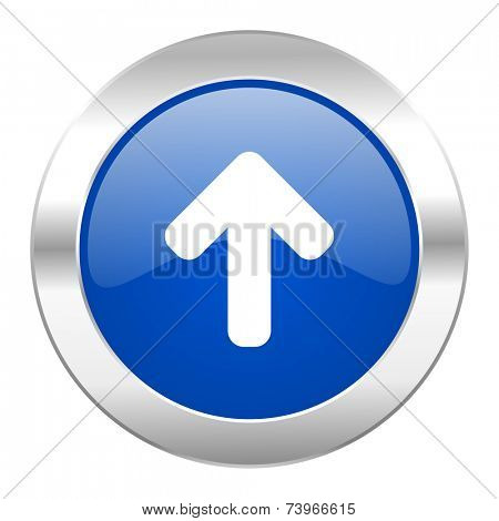 up arrow blue circle chrome web icon isolated