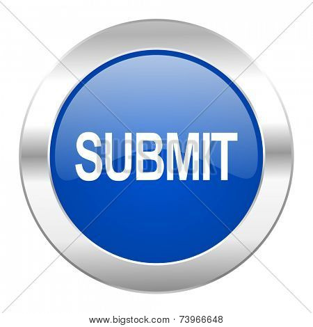 submit blue circle chrome web icon isolated