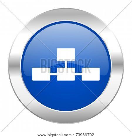 database blue circle chrome web icon isolated