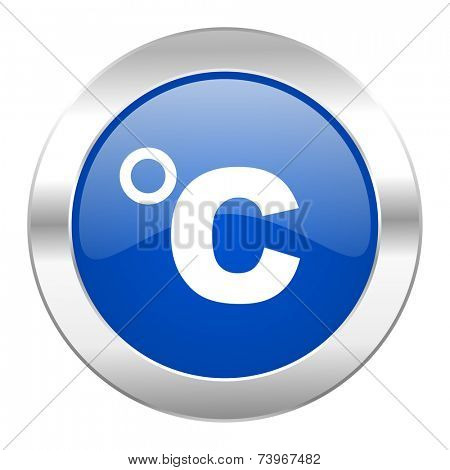 celsius blue circle chrome web icon isolated