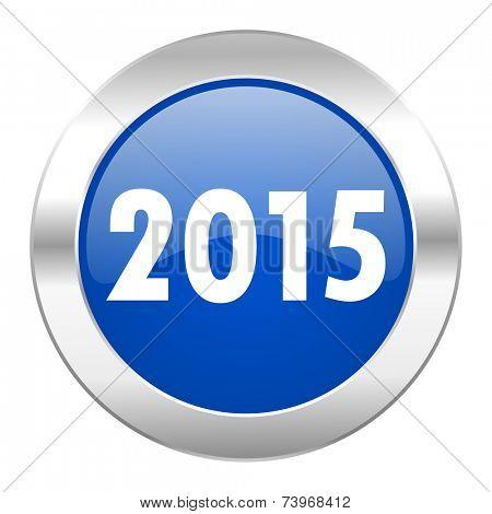 new year 2015 blue circle chrome web icon isolated