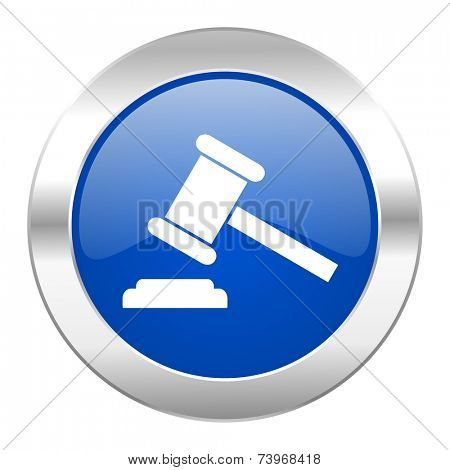 auction blue circle chrome web icon isolated
