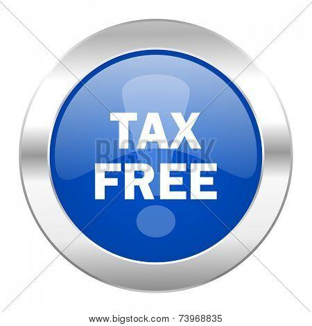 tax free blue circle chrome web icon isolated
