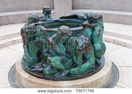 The Well of Life, sculpture made by famous Croatian sculptor Ivan Mestrovic, standing in front of Croatian National Theater in Zagreb, Croatia