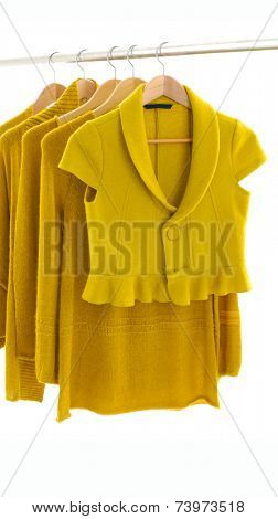 Fashion yellow female clothes rack display