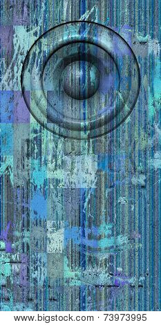3D Render Grunge Blue Old Speaker Sound System