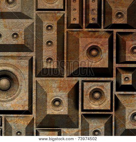 3D Composition Grunge Old Speaker Sound System