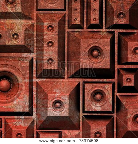 3d composition grunge old speaker sound system