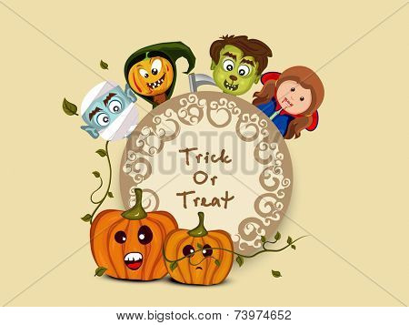 Sticker, tag or label with spooky vampire, witch and pumpkin for Trick Or Treat party celebration on beige background.