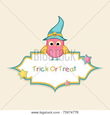 Trick Or Treat party celebration sticker, tag or label with colorful owl wearing pilgrim hat on beige background.