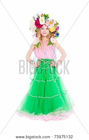 Little Girl Posing With A Wreath
