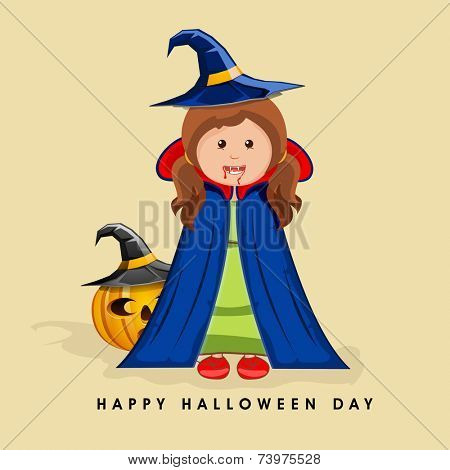 Poster, banner or background for Halloween party celebration with scary witch, pumpkin and pilgrim hat on beige background.