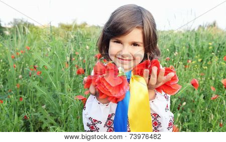 Girl Holding Wreath With Ukrainian Flag Yellow And Blue Ribbons