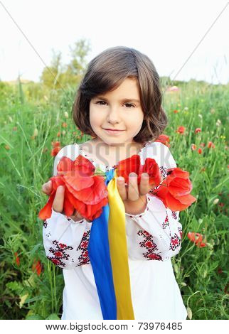 Girl Holding Wreath With Ukrainian Flag Colors Ribbons
