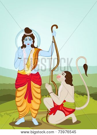 Hindu mythological Lord Rama giving blessings and Hanuman on nature background for Happy Diwali celebrations concept.