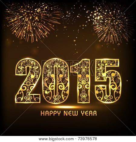 Floral design decorated golden text 2015 on fireworks decorated brown background for Happy New Year 2015 celebrations.