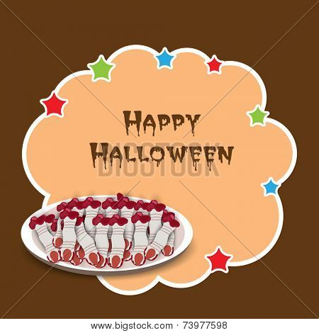 Sticker, tag or label for Halloween party celebration with witch fingers breads plate on brown background.