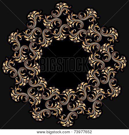 Vector Gold Round Ornament.