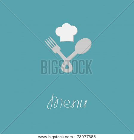 Fork, Spoon Node And Chef Hat Menu Card. Flat Design Style.