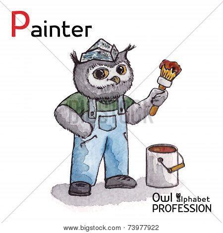 Alphabet professions Owl Letter P - Painter character Vector Watercolor.