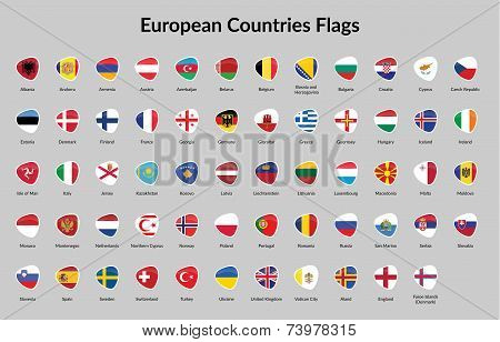 European Continent countries flags