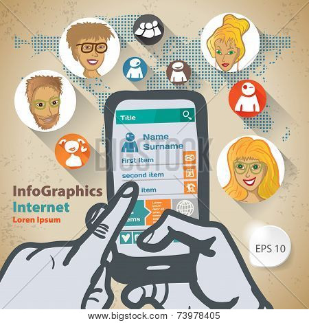 Template Infographic With Two Hands And A Smartphone Flat Design Illustration For Web Social Network