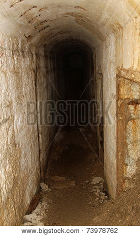 Long Tunnel Inside The Fortification Called Fort Sommo Used By The Army During The First World War F