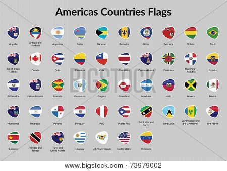 American Continent countries flags