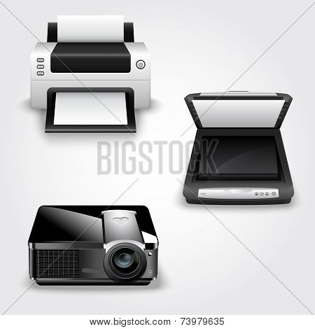 Detailed Illustration Of Abstract Printer, Scanner And Projector