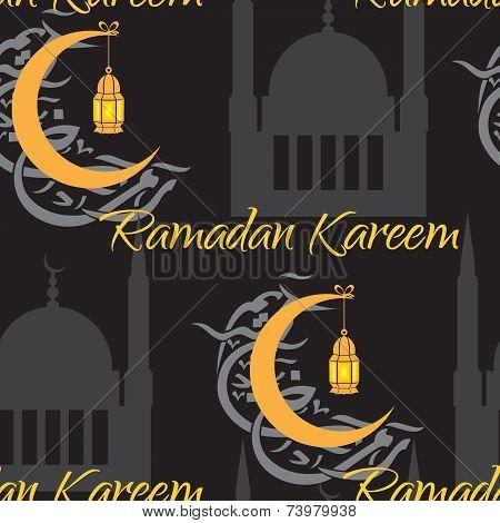 Crescent and lantern to light the holy Muslim month of Ramadan Kareem community.