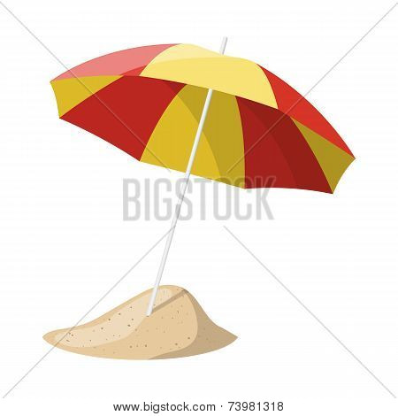 Beach umbrella isolated over white background. Vector illustration