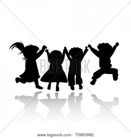 happy kids jumping; silhouette illustration