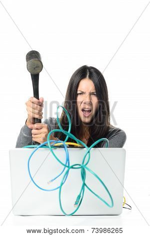 Angry Woman Smashing Laptop Using Hammer