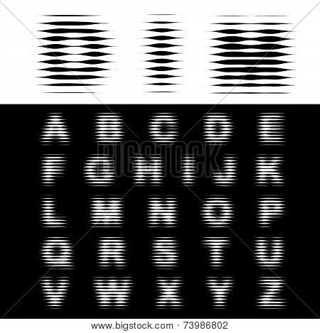 vector dimly halftone alphabet