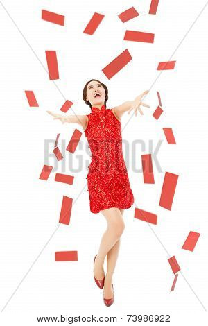 Happy Chinese New Year.young Woman Trying To Catch Red Envelope