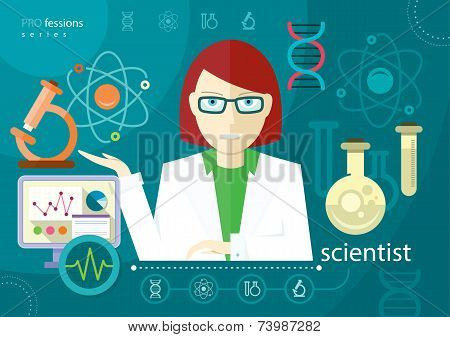 Profession scientist with icon elements of laboratory