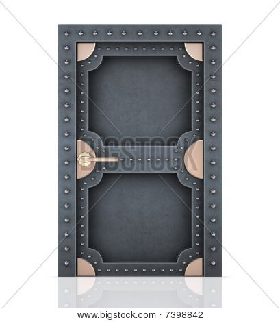 Massive metal door