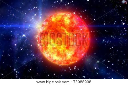 Solar Sun In Blue Space