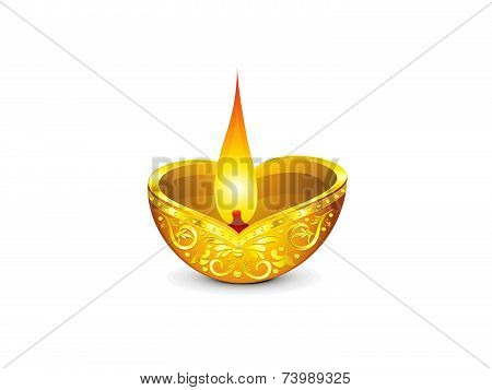 Abstract Artistic Diwali Golden Deepak