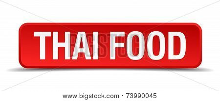 Thai Food Red 3D Square Button Isolated On White
